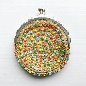Boho woven & beaded travel coin purse